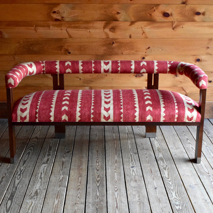 1920's Nanna Ditzel Inspired Bench with Brass Ferules and Andrew Martin Cuzco Fabric