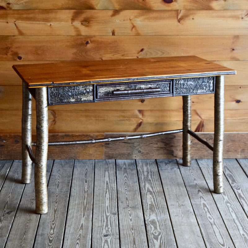 Rustic Birch Bark Single Drawer Desk with Barnwood Top