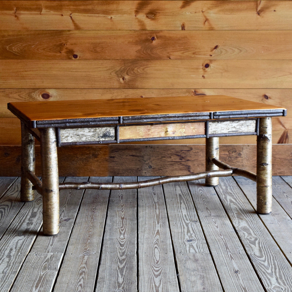 Adirondack Rustic Coffee Table with Antique Barnwood Top and White Birch and Willow Twig Details
