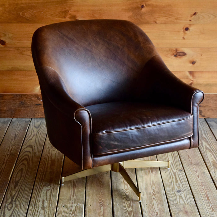 Brown Leather Swivel Club Chair with Brushed Brass Base