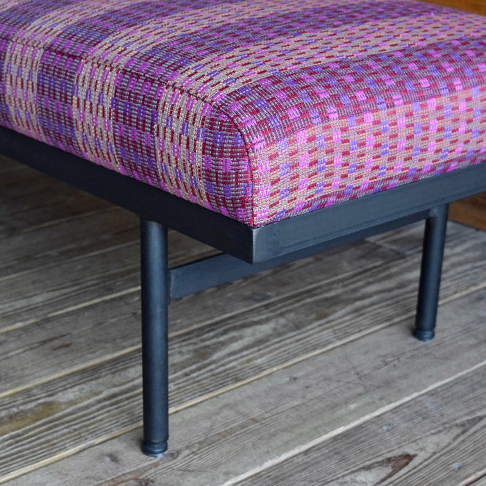 Vintage Tapestry Bench with Metal Frame Base