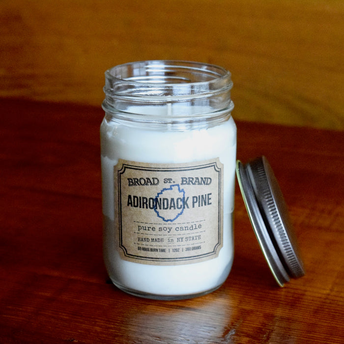 Adirondack Blue Line Pine Pure Soy Candle in Mason Jar