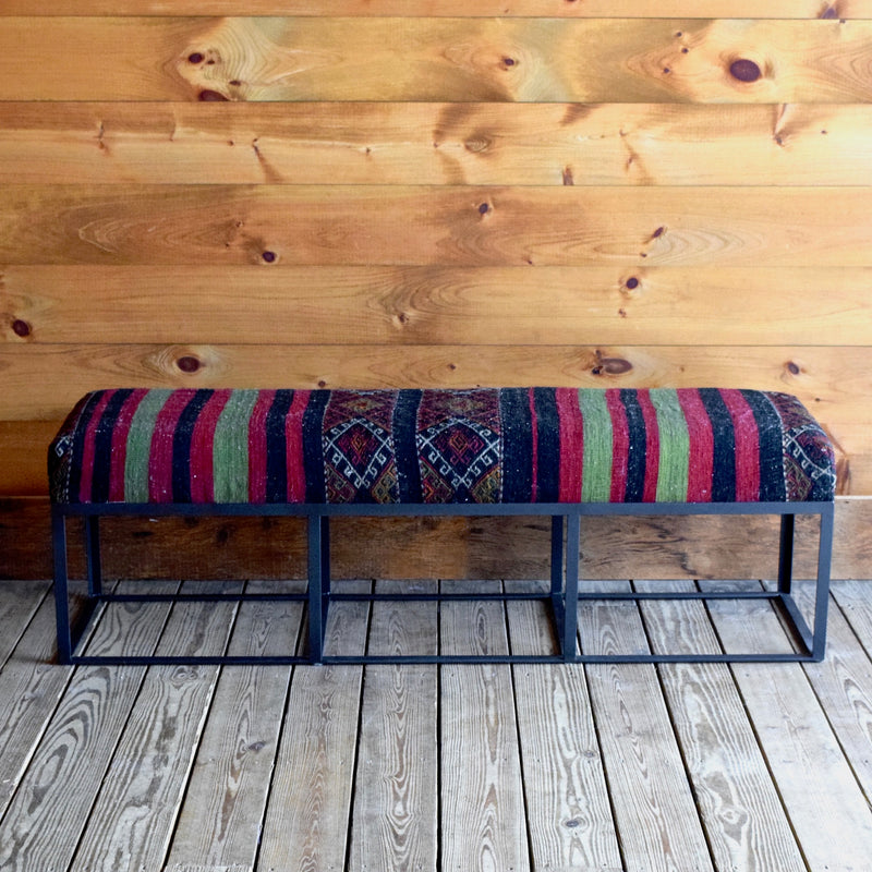 Metal Bench with Vintage Kilim Seat in Black Red and Green