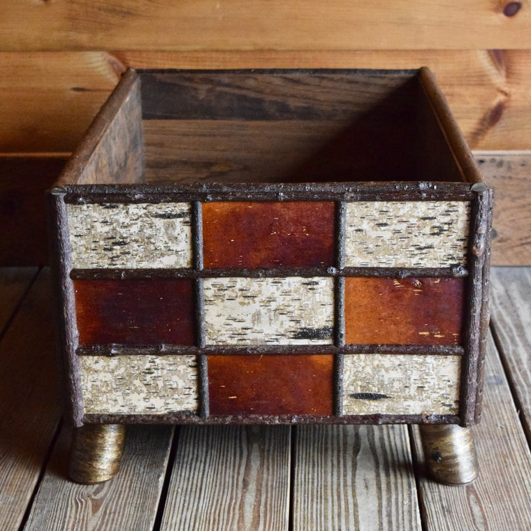 Handmade Fancy Wood Birch Firewood Holder with Canvas Log Carrier