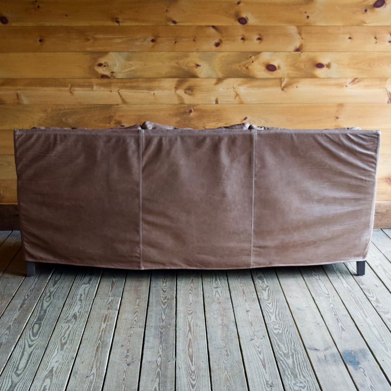 Brown Latte Leather Sofa with Slip Cover