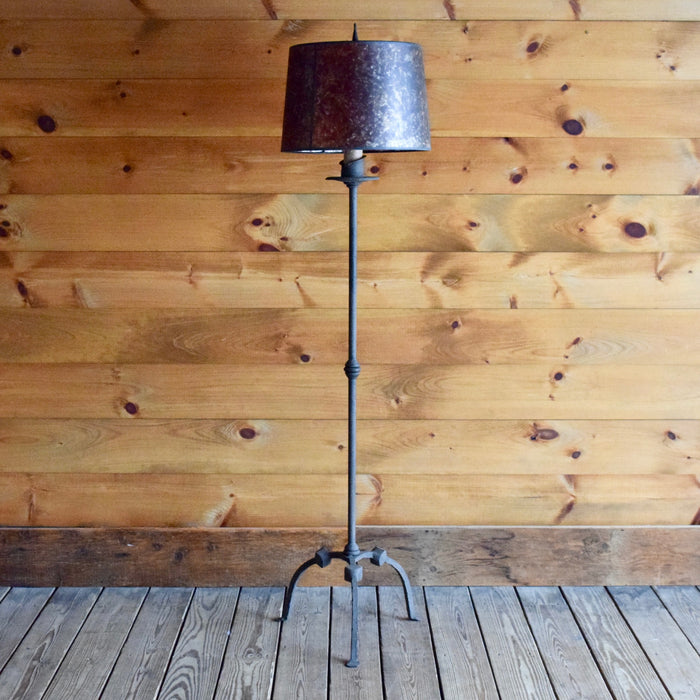 Textured Wrought Iron Lamp with Dripping Candle Detail and Mica Shade Handcrafted in America