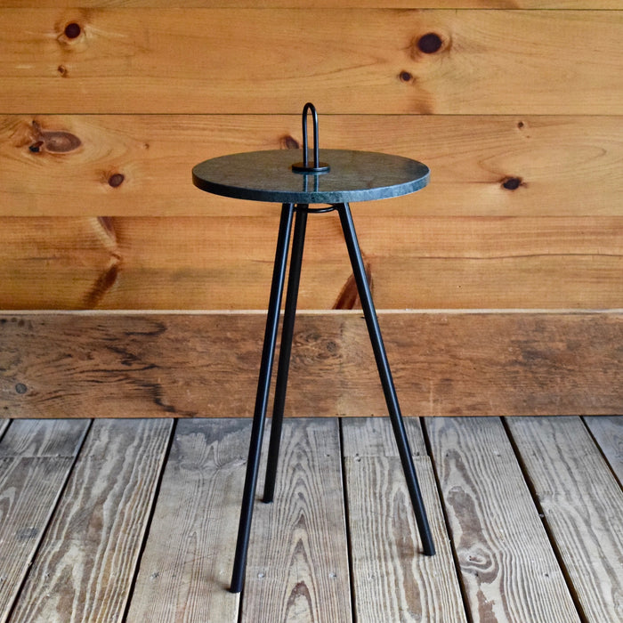 Iron Tripod Drink Table with Green Marble Tabletop