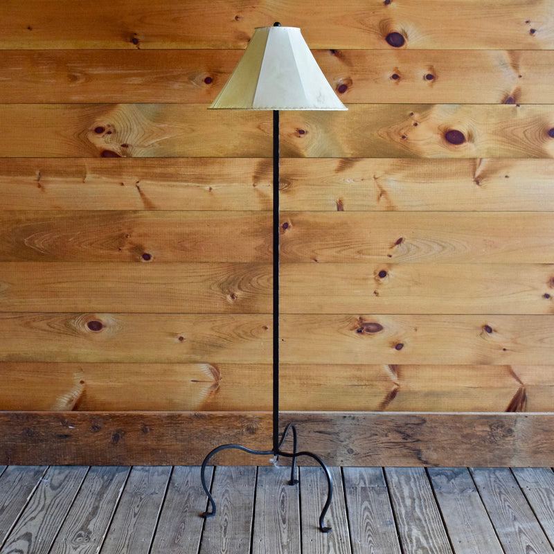 Petite, Dimmable, Aged Iron Floor Lamp with Three Legs and Rawhide Shade