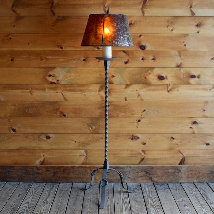 Twisted Wrought Iron Lamp with Dripping Candle Detail and Mica Shade Handcrafted in America