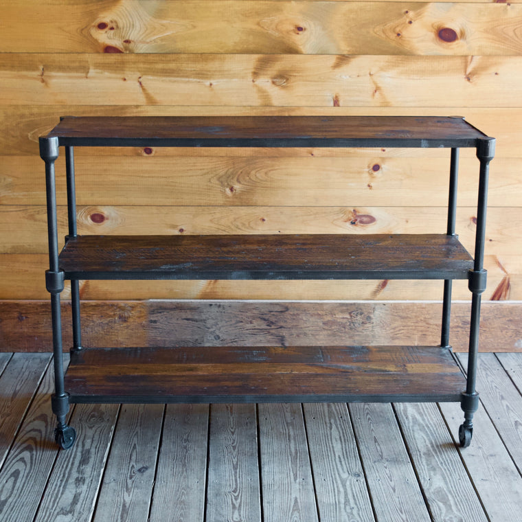 Reclaimed Teak & Iron Rolling Console Table