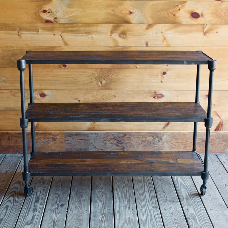 Reclaimed Teak and Recycled Cast Iron Rolling Console Table