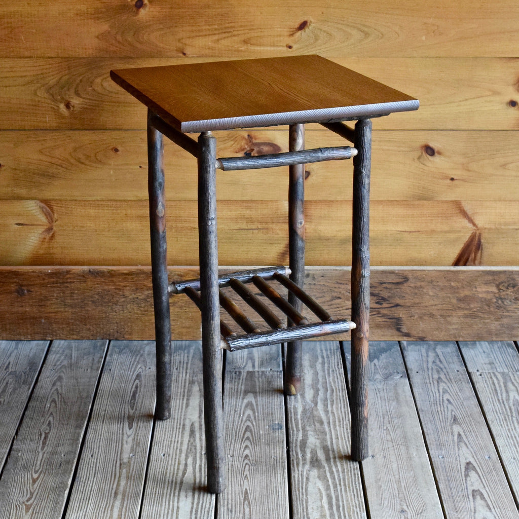 Adirondack Rustic Hickory Tabouret Table with Quarter Sawn Oak Top