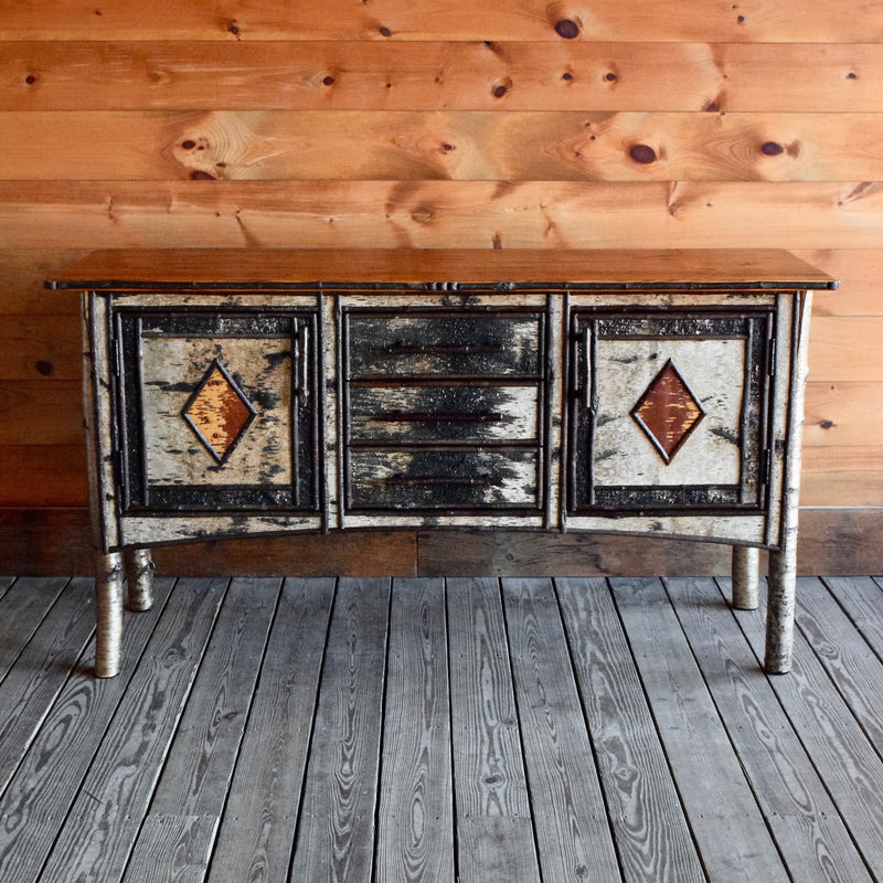 Rustic Adirondack Buffet Cabinet with White Birch and Reverse Birch Decoration