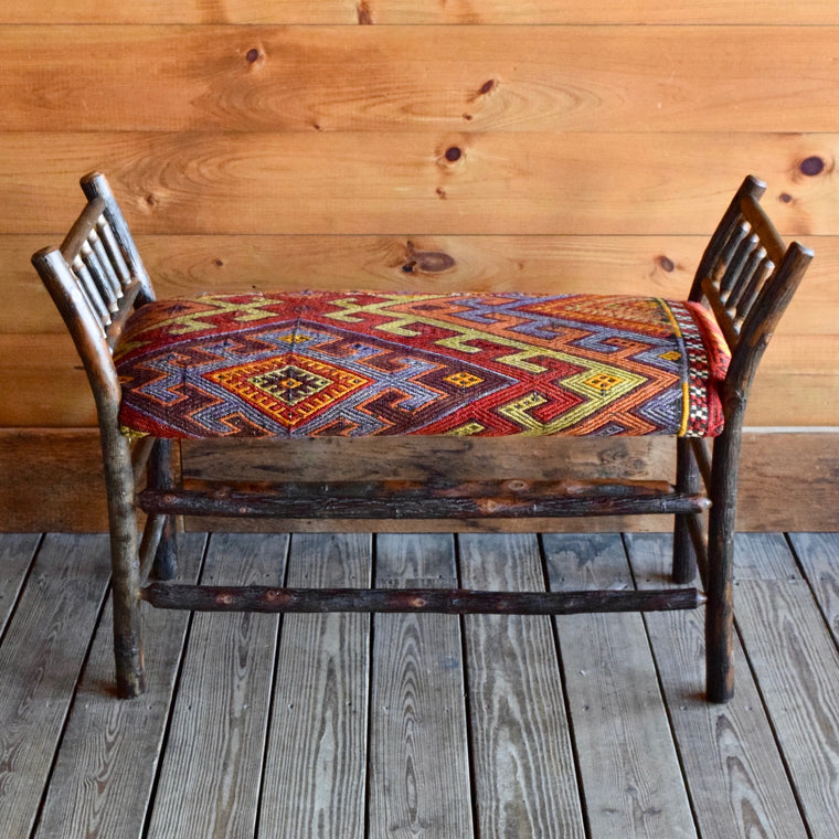 Roman Bench | 3 ft. with Vintage Kilim Seat