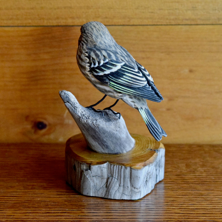 Handmade Pine Siskin Bird Chickadee Pocket Knife Carving by Allen Aardsma in the Adirondacks