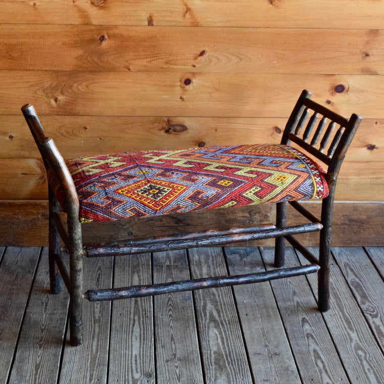 Three Foot Hickory Bench with Colorful Vintage Kilim Rug Seat