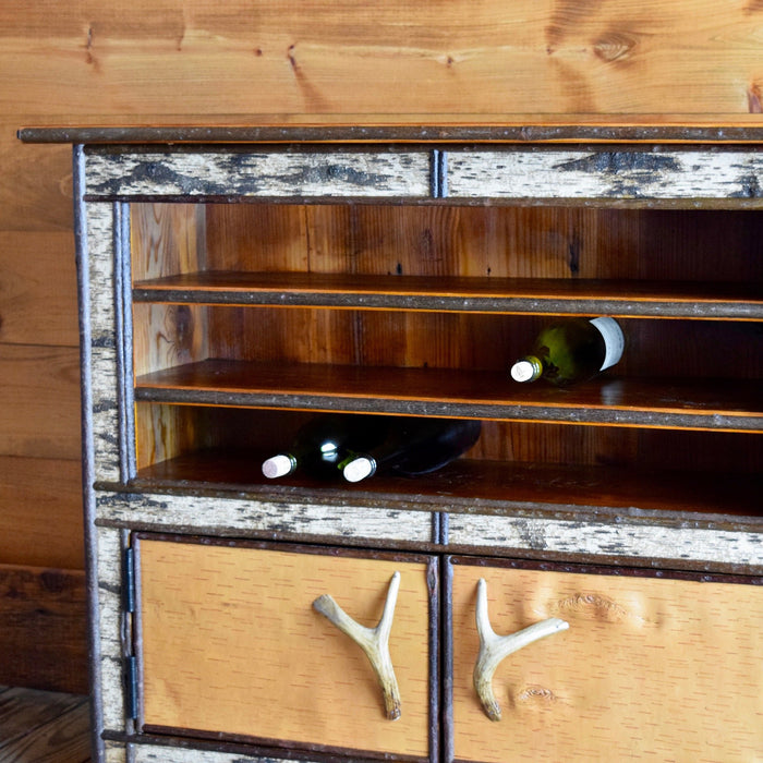 Adirondack Rustic Wine Cabinet with Birch Bark, Antler Handles and Barn Wood Top