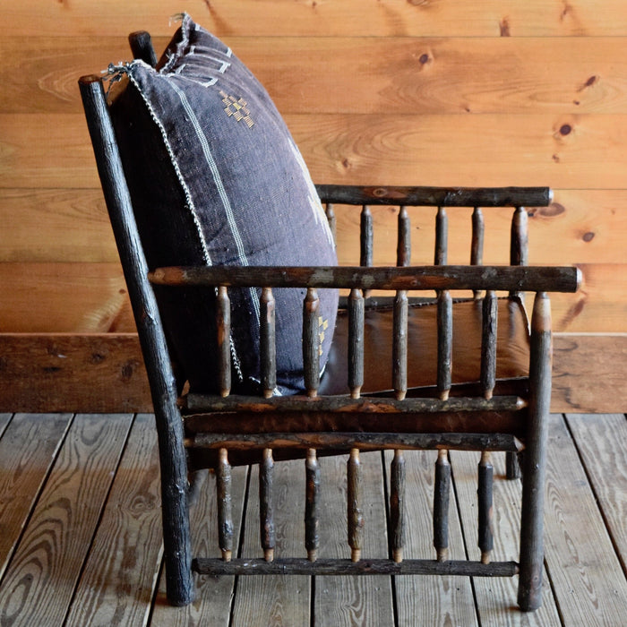 Rustic Adirondack East Hill Chair in Hickory with Brown Cactus Moroccan Silk Pillow and Leather Cushion