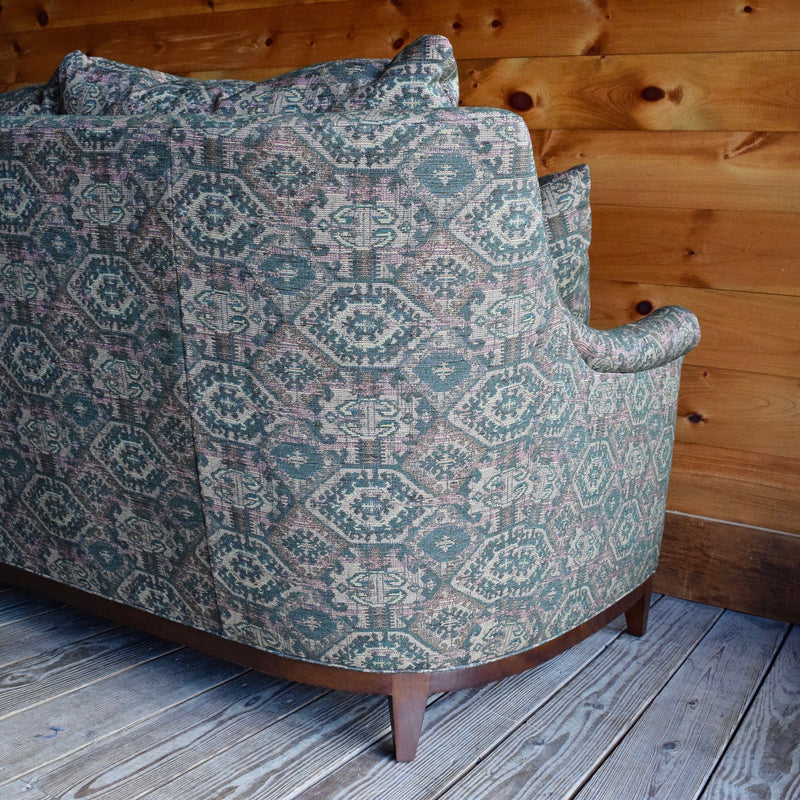 Rustic Sage and Rust Tapestry Sofa with Lawson Arm, Ash Wood Border and Matching Throw Pillows