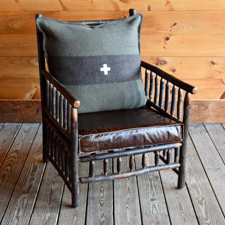 East Hill Hickory Club Chair in Green Swiss Army