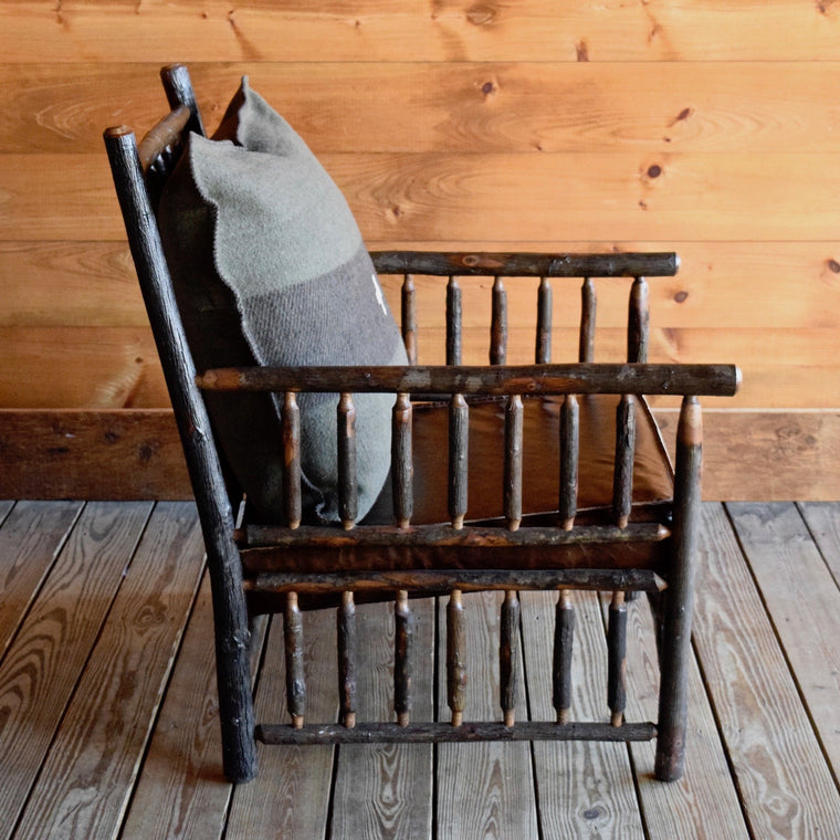 Rustic Adirondack East Hill Chair in Hickory with Green and Brown Swiss Army Pillow and Leather Cushion