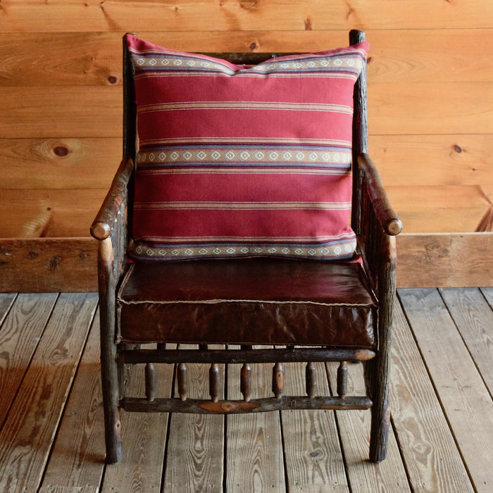 Rustic Adirondack East Hill Chair in Hickory with Red Serape Stripe Cotton Back Pillow and Leather Seat Cushion