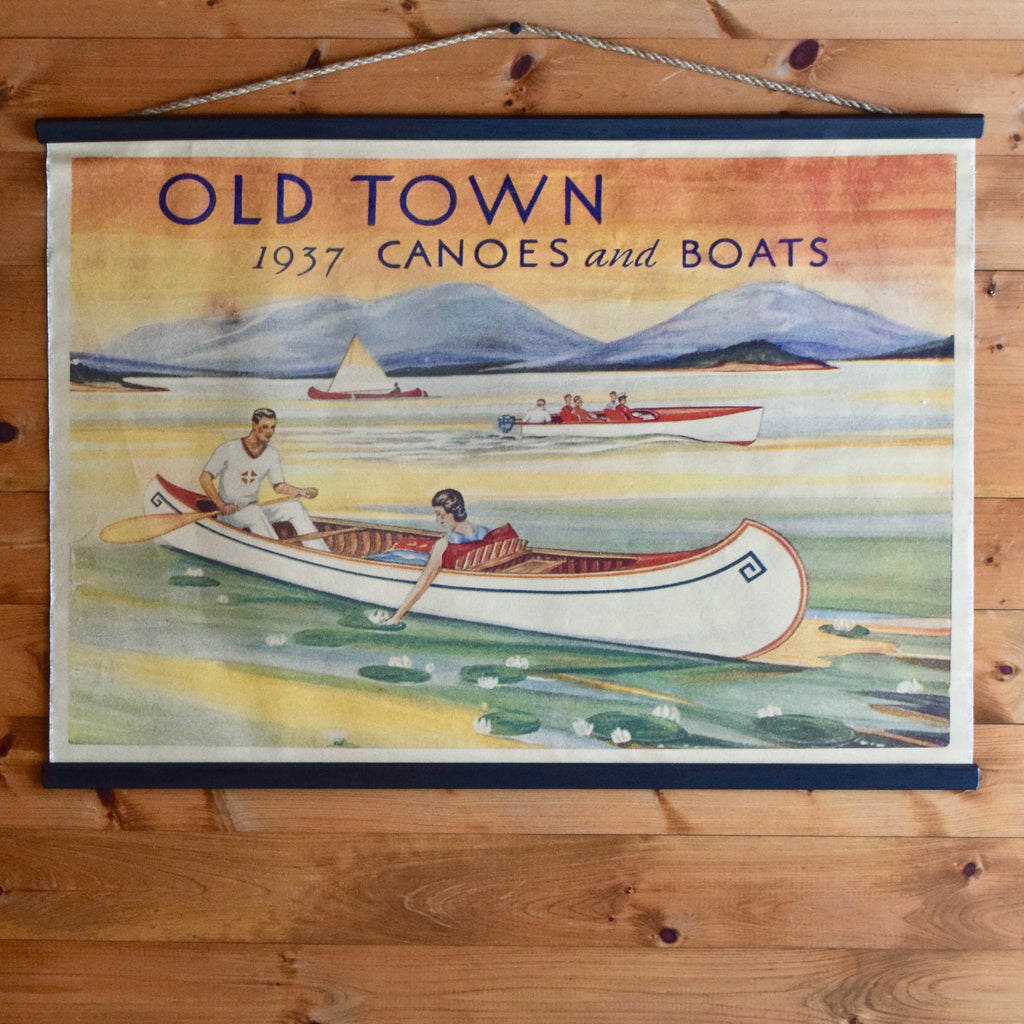 Vintage Old Town Canoe and Boats Canvas Wall Chart