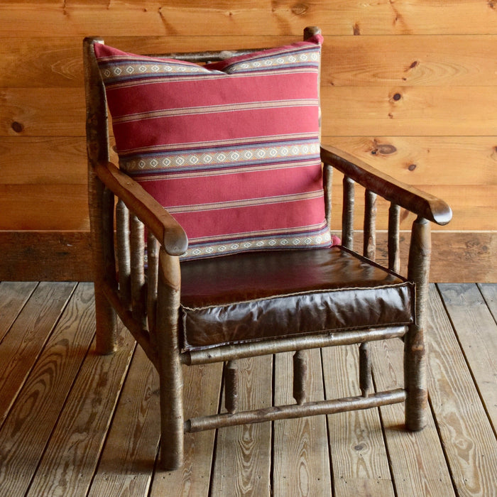 Adirondack Yellow Birch Camp Chair with Leather Knife Edge Cushion and Cotton Serape Stripe Back Pillow
