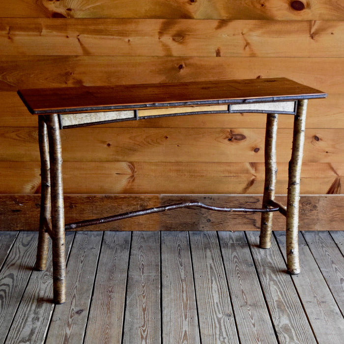 Adirondack Rustic White Birch and Willow Sofa Table with Reverse Birch Bark