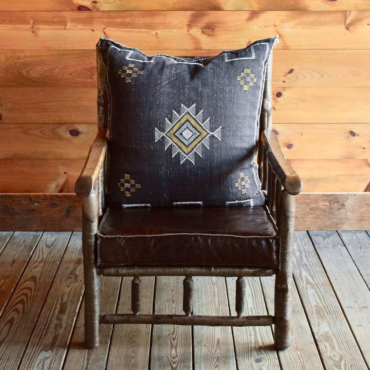 Adirondack Yellow Birch Camp Chair with Leather Knife Edge Cushion and Cactus Moroccan Silk Back Pillow
