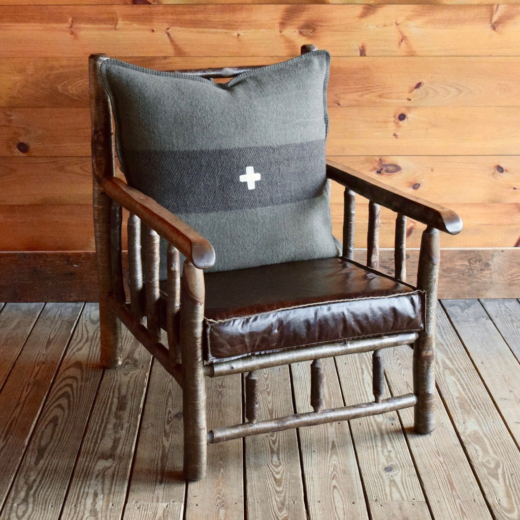 Adirondack Yellow Birch Camp Chair with Leather Knife Edge Cushion and Fleece Swiss Army Back Pillow