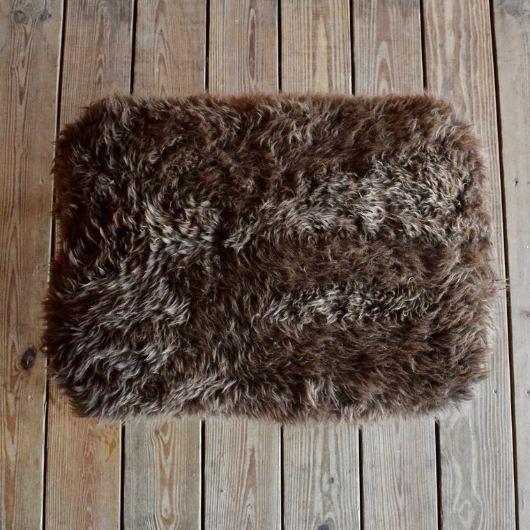 Hickory Stool with Brown Chocolate Sheepskin Fur Seat