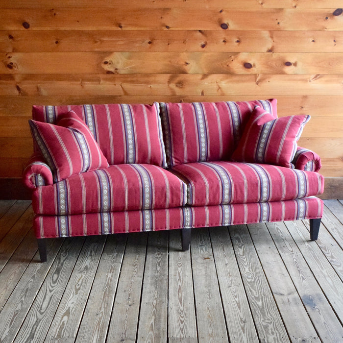 Apartment Sofa Upholstered in Southwest Sandoval Serape Cotton Stripe