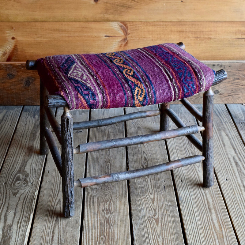 Adirondack Rustic Hickory Camp Stool Footrest with Vintage Kilim Upholstery