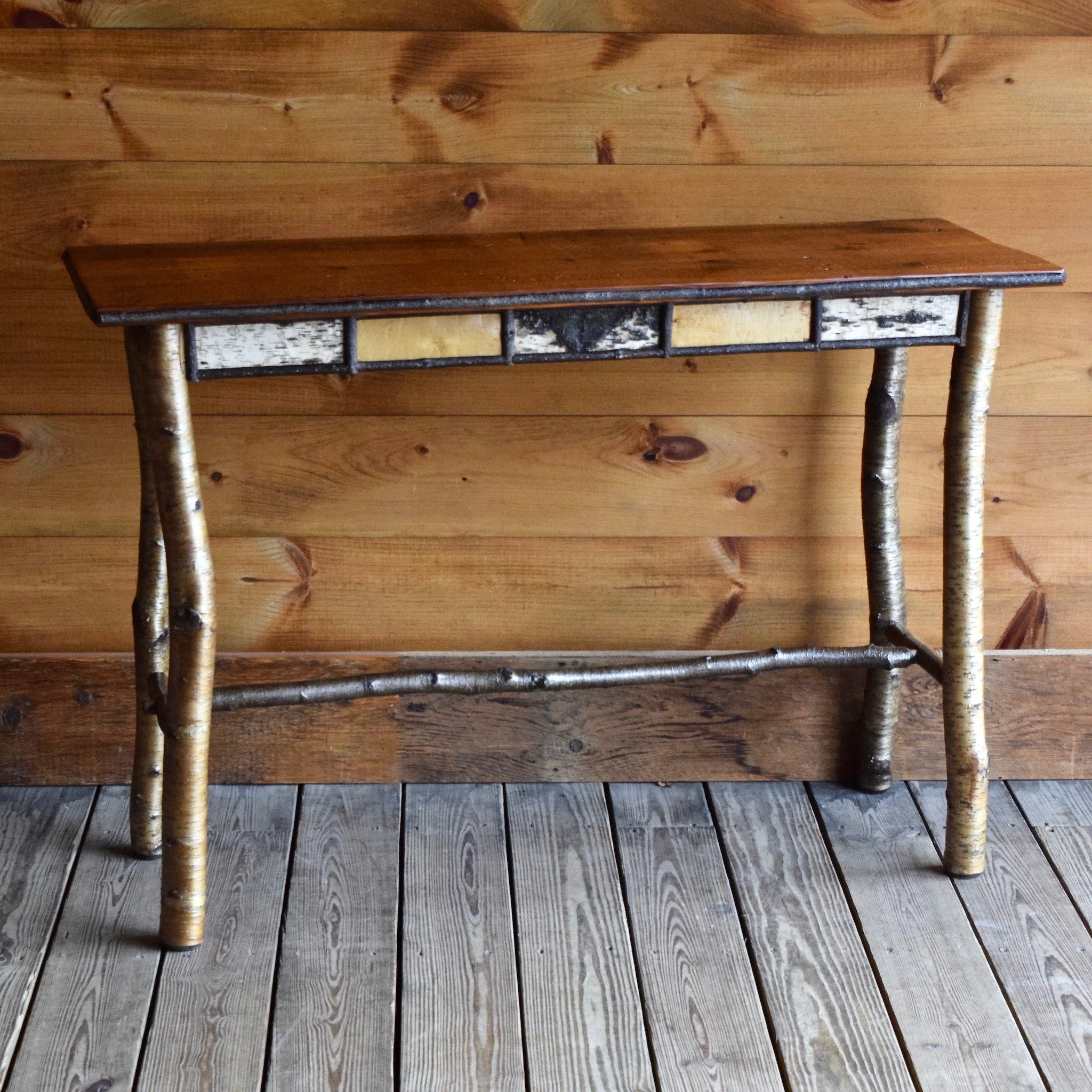 Adirondack Rustic Birch Sofa Table with Barnwood Top
