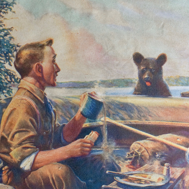 National Sportsman William H Foster Black Bears Disturbing Man Morning Coffee Canvas Wall Chart