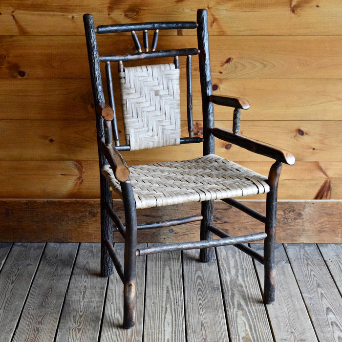 Hickory 3-Finger Detail Arm Chair with Woven Paper Splint Seat and Seatback