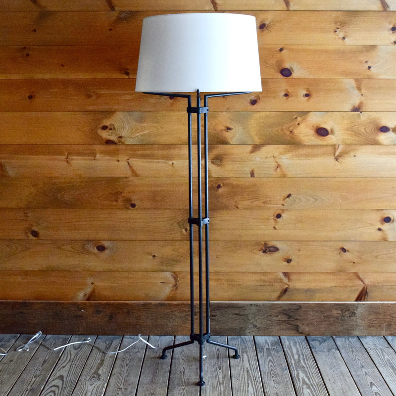 Black Iron Floor Lamp with White Shade and Brass Pull Chain