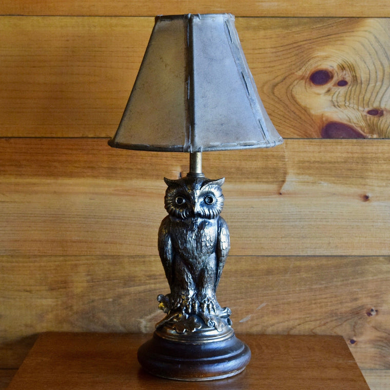 Vintage 1960s Detailed Owl Table Lamp on Oak Branch with Wood Base