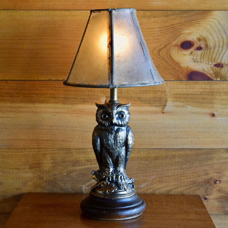 Vintage Owl Lamp with Rawhide Shade