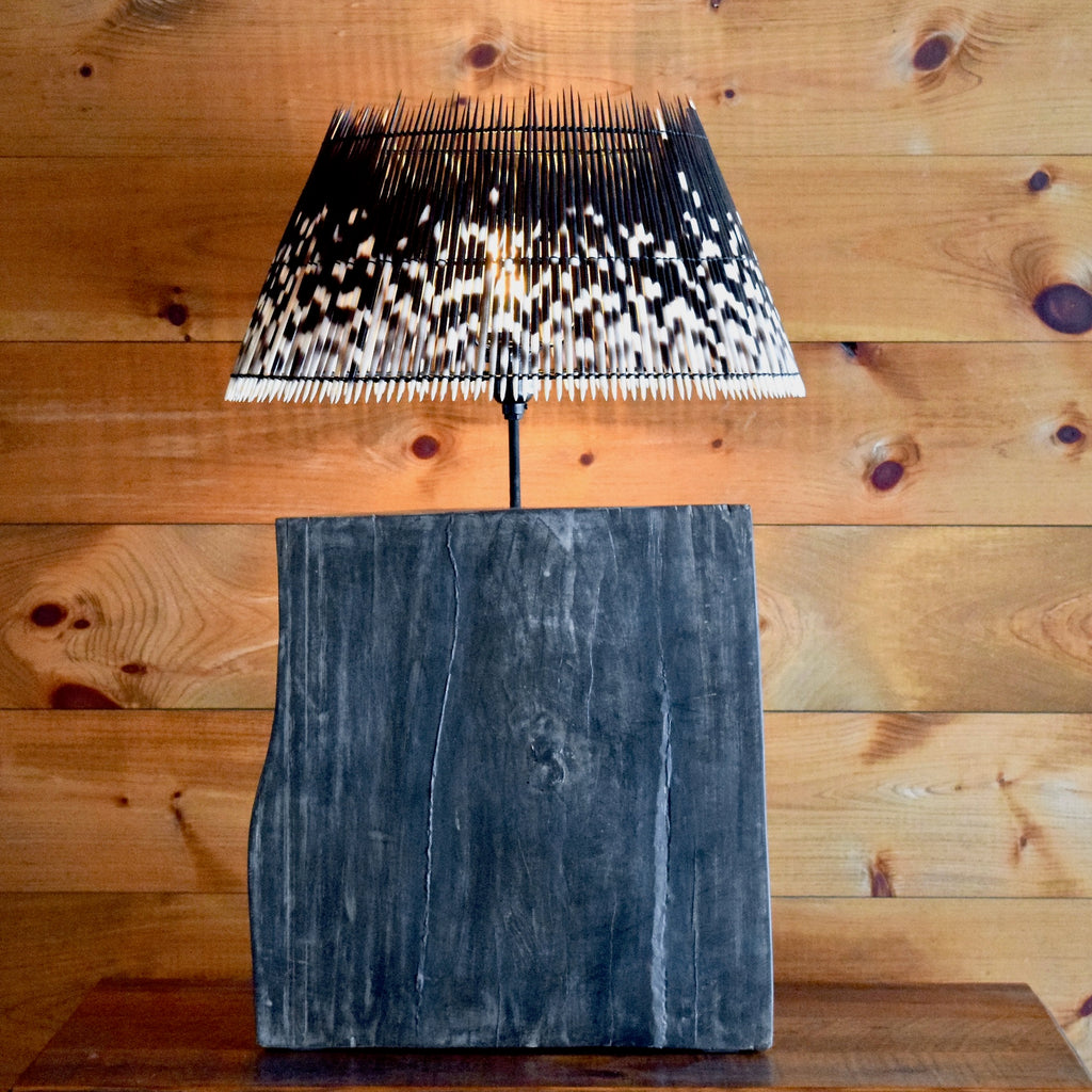 Split Log Table Lamp with Black and White Porcupine Quill Shade