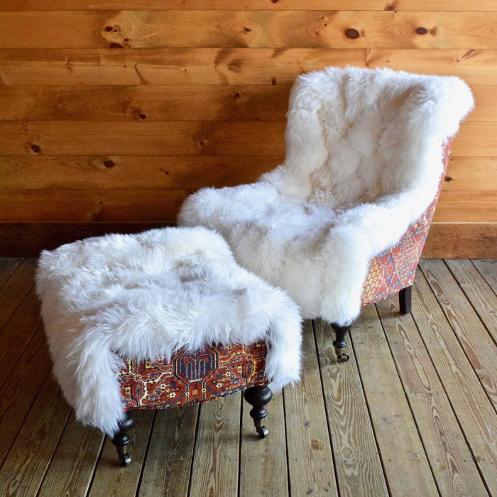 White Fur Chair and Ottoman with Button Tufting and Red Velvet Accents