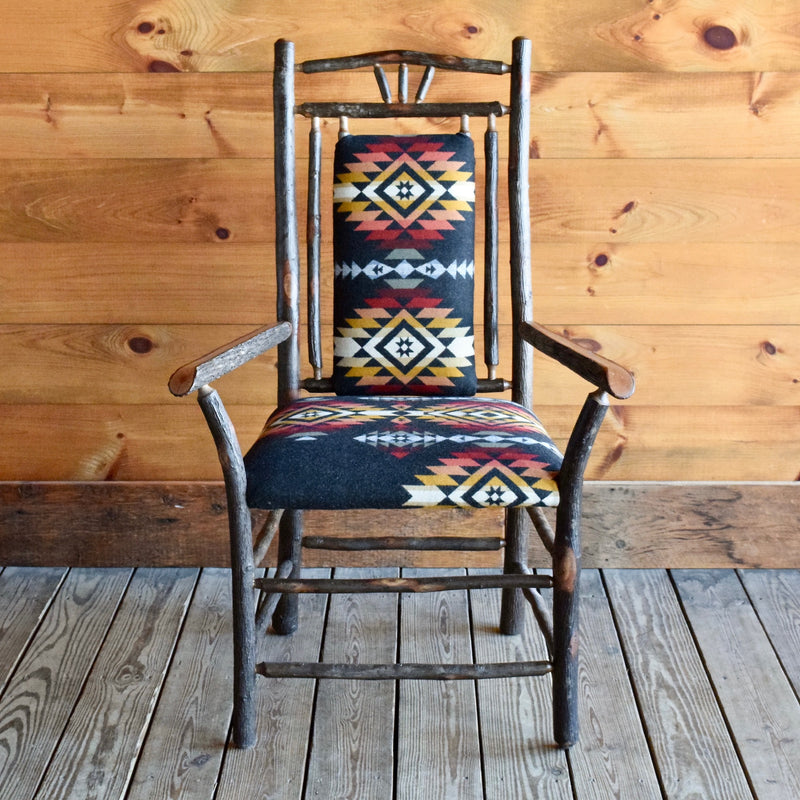 Steam-Bent Hickory Arm Chair with Pendleton Upholstered Seat and Seat Back