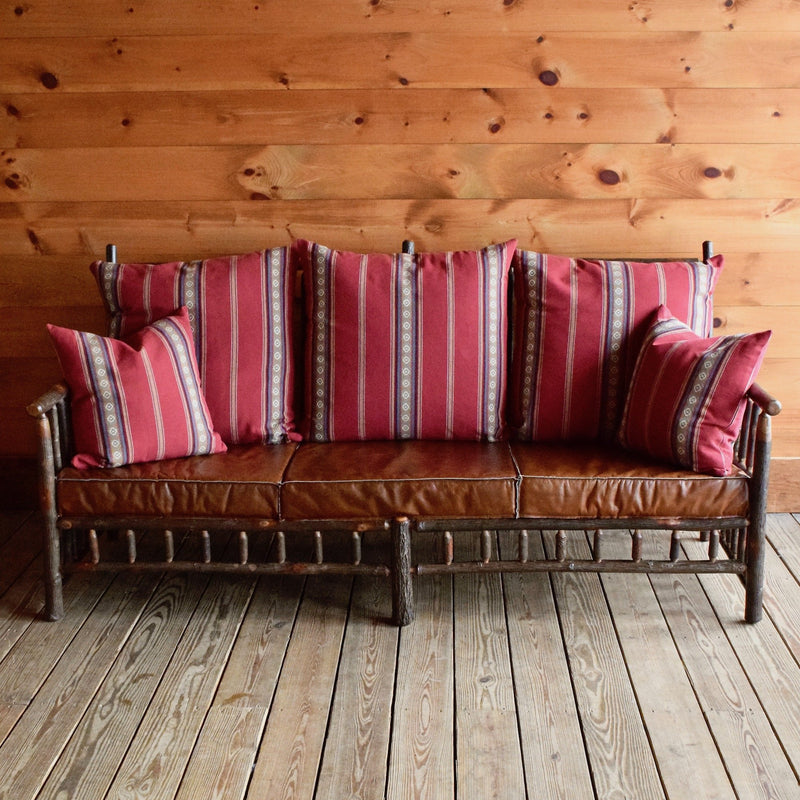 Hickory East Hill Spindle Sofa with Chili Red Cotton Stripe Pillows and Knife-Edge Leather Seat Cushions