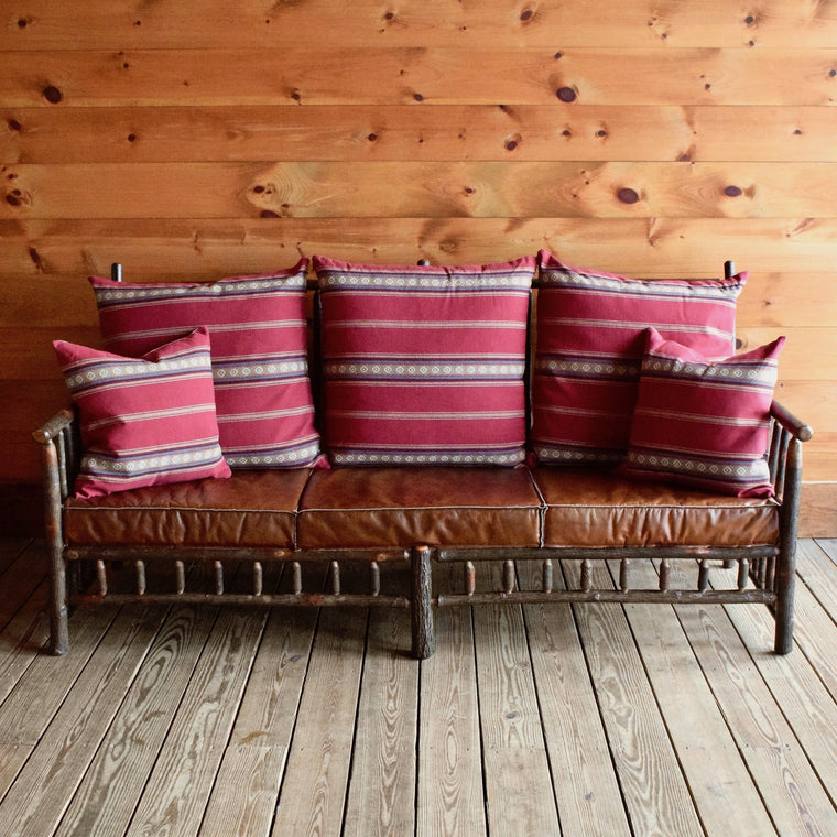 East Hill Hickory Sofa in Chili Stripe