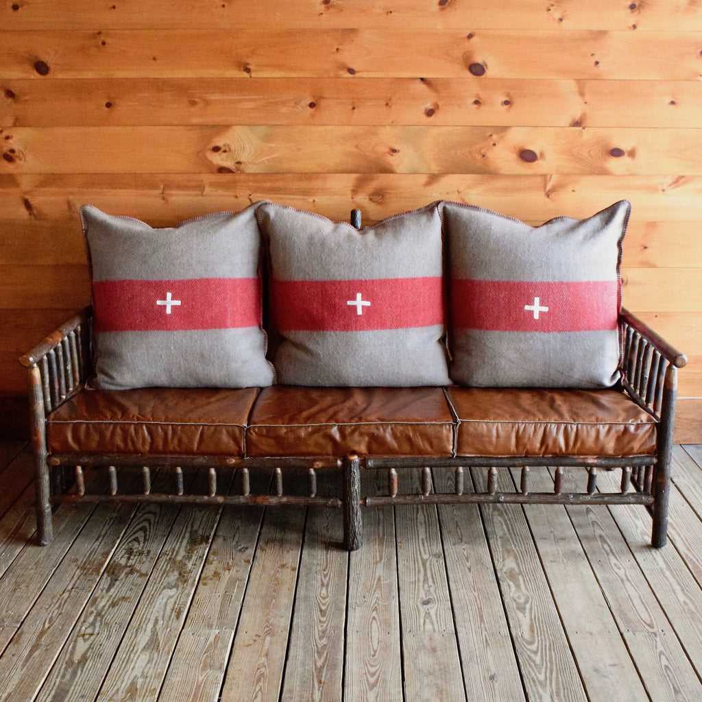 Hickory East Hill Spindle Sofa with Red and Brown Fleece Swiss Army Pillows and Knife-Edge Leather Seat Cushions