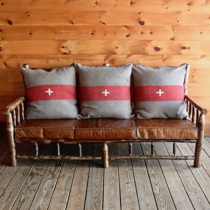 Yellow Birch East Hill Spindle Sofa with Red/Fleece Fleece Pillows and Knife-Edge Leather Seat Cushions