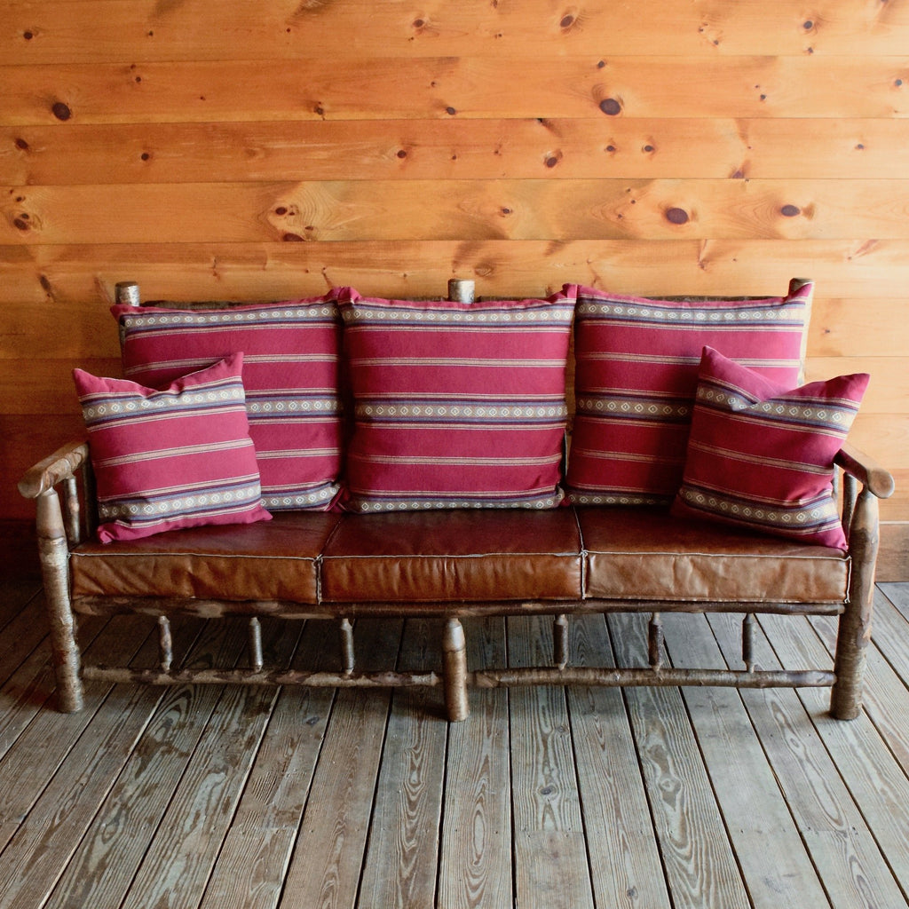 Yellow Birch East Hill Spindle Sofa with Chili Red Cotton Stripe Pillows and Knife-Edge Leather Seat Cushions