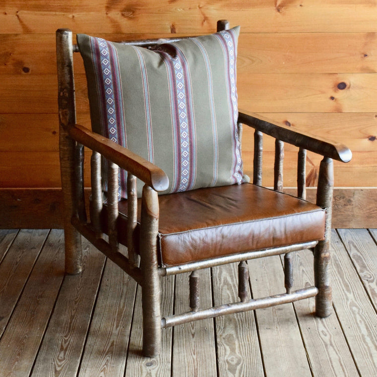 East Hill Yellow Birch Club Chair in Sage Stripe