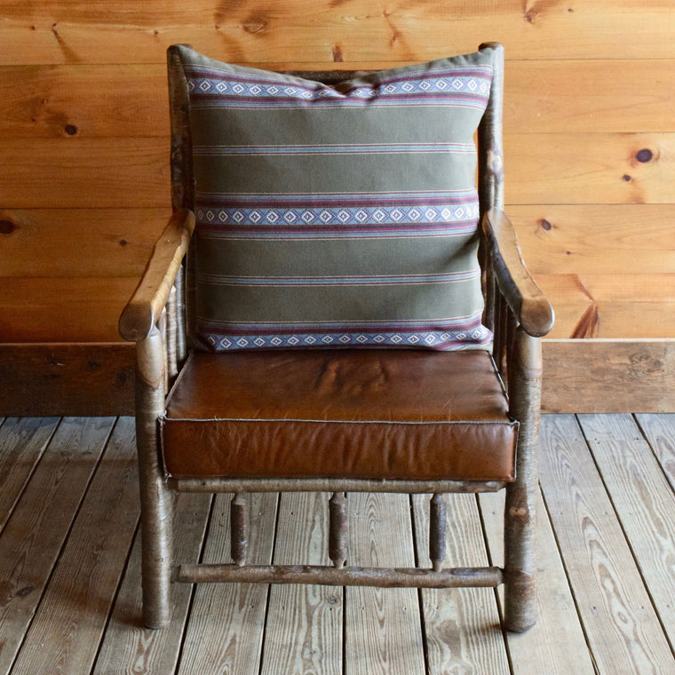 Adirondack Yellow Birch Camp Chair with Leather Knife Edge Cushion and Cotton Sage Green Serape Stripe Back Pillow